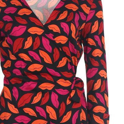lip pattern wrap dress multi